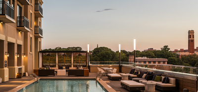 Outdoor rooftop pool space at Aertson Midtown in Nashville, TN