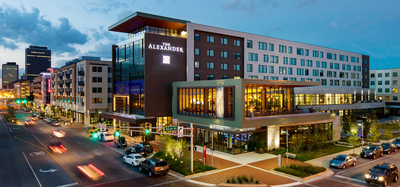 The Alexander Hotel in Indianapolis at the intersection of Delaware and South Streets