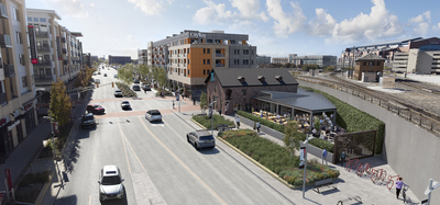 CityWay Phase Two Rendering South Delaware Downtown Indianapolis showing Taxman Brewing
