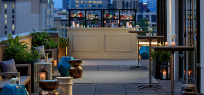 Rooftop space outside the conference rooms of the Kimpton Aertson Hotel