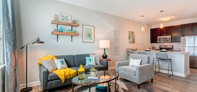 Model home living room set up at Whetstone Flats in Nashville, TN