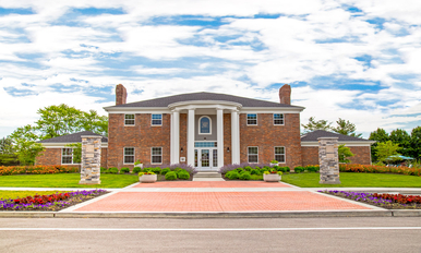 Exterior of the leasing office at Gramercy in Carmel, Indiana